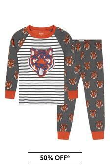 Hatley Kids & Baby Boys Grey Fierce Tigers Organic Cotton Raglan Pyjama Set