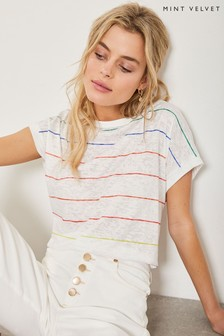 Mint Velvet Ivory Rainbow Burnout Tee