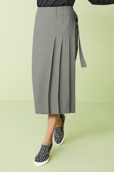 Side Pleat Midi Skirt