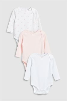 Delicate Swan Long Sleeve Bodysuits Three Pack (0mths-2yrs)