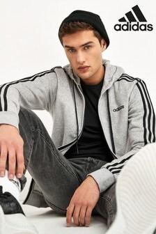 """קפוצ'ון עם רוכסן 3 פסים של <bdo dir=""""ltr"""">adidas </bdo> בצבע אפור"""