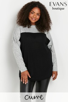 Evans Curve Colourblock Soft Touch Jumper