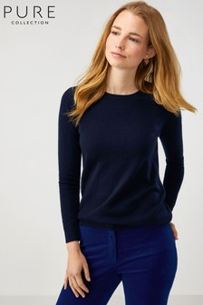 Pure Collection Blue Cashmere Straight Fit Crew Neck Sweater