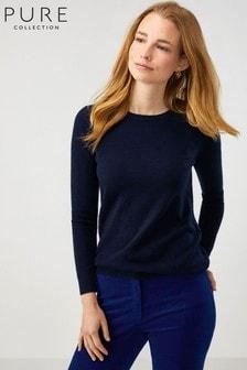 סוודר עם צווארון עגול מקשמיר בגזרה ישרה של Pure Collection בצבע כחול