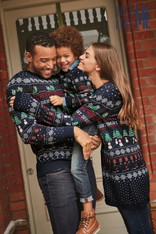 Womens Matching Family Pattern Wrapping Crew Neck Jumper