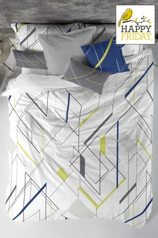 Happy Friday Perspective Geo Cotton Duvet Cover and Pillowcase Set