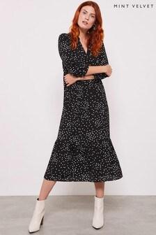 Mint Velvet Black Spot V-Neck Midi Dress