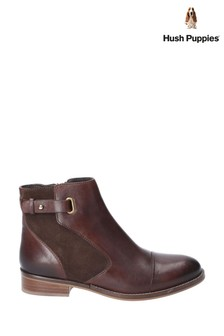 Hush Puppies Brown Hollie Zip Up Ankle Boots