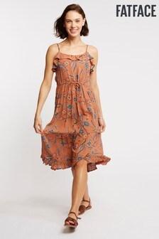 FatFace Orange Alissia Sunset Floral Midi Dress