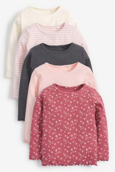 5 Pack Long Sleeve Rib Tops (3mths-7yrs)