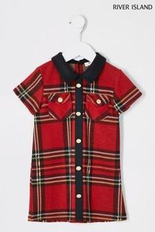 Czerwona luźna sukienka w szkocką kratę River Island