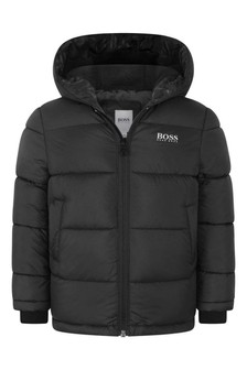 Boys Black Hooded Padded Jacket