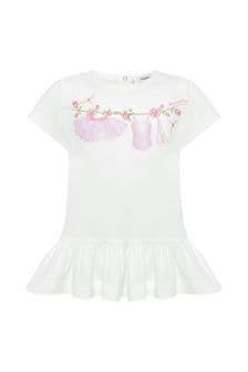 Baby Girls Cream Cotton T-Shirt