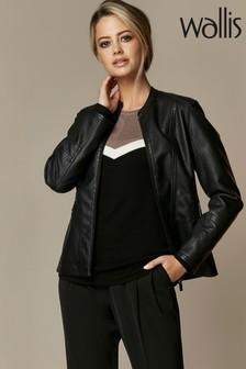 Wallis Black Petite Faux Leather Biker Jacket