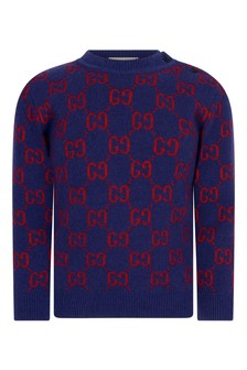 Baby Boys Navy Wool Knitted GG Jumper