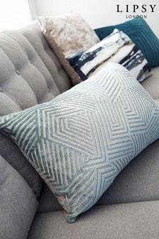 Lipsy Blue Cut Velvet Geo Cushion