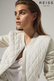 Reiss Camel Ayla Hybrid Zip Through Quilted Jacket