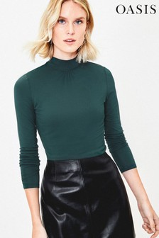 Oasis Green Turtle Neck Top
