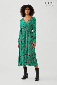 Ghost Suki Misty Rose Print Crepe Dress