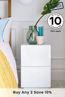 Sloane Collection Luxe White Slim 2 Drawer Bedside Table