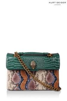 Kurt Geiger London Purple Leather Kensington Snake Print Bag