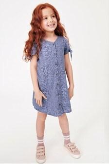 Tie Sleeve Button Dress (3-16yrs)