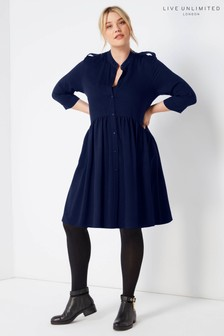 Live Unlimited Navy Dropped Waist Dress With Epaulette Detail
