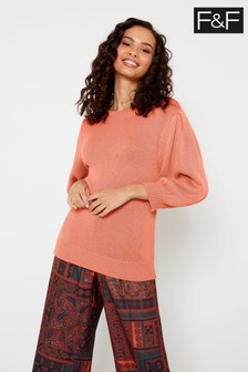 F&F Pink Cotton Volume Short Sleeve Jumper