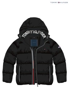 Tommy Hilfiger Boys Scarlet Sage//Black Jack Fleece Lined Hooded Puffer Jacket