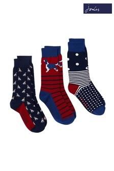 Joules Cream Striking Socks 3 Pack
