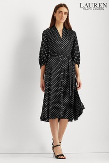 Lauren Ralph Lauren® Black Polka Dot Bijourna Midi Dress
