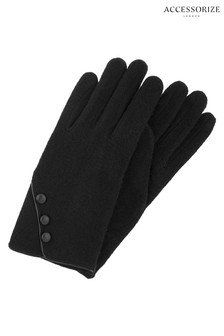 Accessorize Black Wool Gloves With Buttons