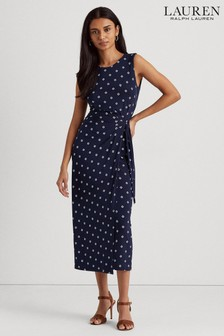 Lauren Ralph Lauren® Navy Polka Dot Stretch Robby Wrap Dress