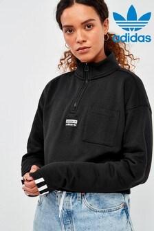 adidas Originals Black RYV Cropped 1/4 Zip Top