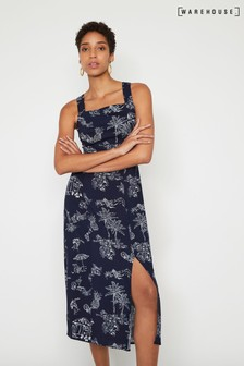 Warehouse Blue Aloha Tie Back Midi Dress
