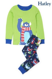 Hatley Green Cozy Monsters Organic Cotton Appliqué Pyjama Set