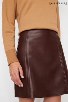 Warehouse Purple Faux Leather Seamed Mini Skirt