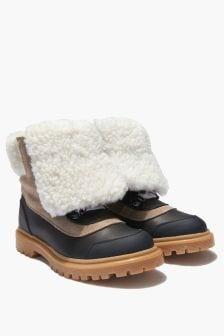 Moncler Enfant Kids Brown Leather Fleece Lined Boots