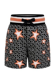 Baby Boys Black Cotton Tiger Print Shorts