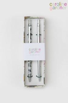 Set of 2 Caroline Gardner Silver And Floral Pens