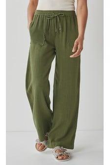 Cotton Wide Leg Trousers
