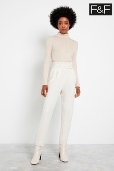 F&F Ivory Button Detail Tapered Trousers