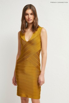 French Connection Yellow Zasha Spotlight V-Neck Dress