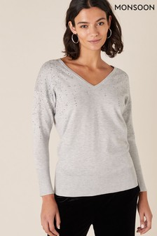 Monsoon Grey Falling Star Heatseal V-Neck Jumper