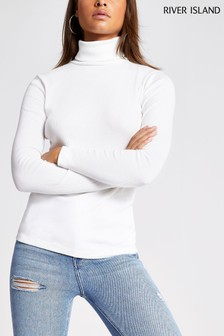 River Island Cream Roll Neck T-Shirt