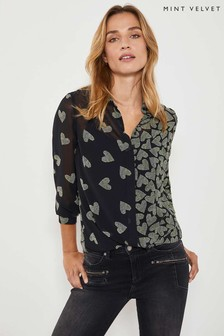 Mint Velvet Black Valentina Heart Shirt