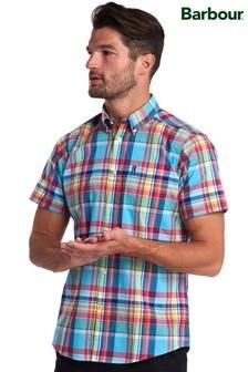 Barbour® Blue Madras Short Sleeve Tailored Shirt