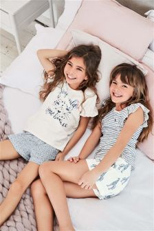 Character Print Short Pyjamas Two Pack (3-16yrs)