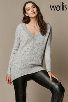 Wallis Grey V-Neck Jumper