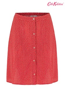 Cath Kidston® Red Scattered Spot Button Through Skirt